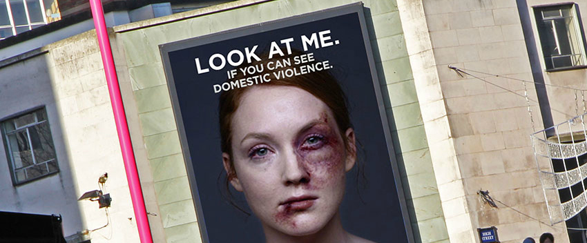 The Bruised Woman on This Billboard Heals Faster as More Passersby Look at Her